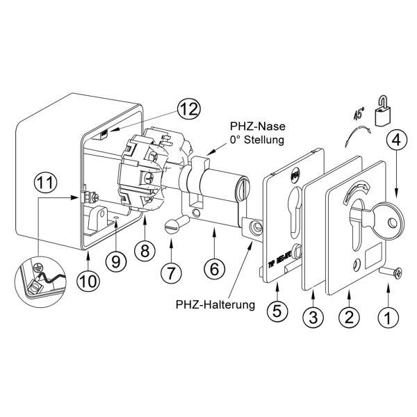 Extrem GeBa Schlüssel-Schalter Raster/Taster + PHZ Aufputz IP54 - Rohrmotor24 MA17