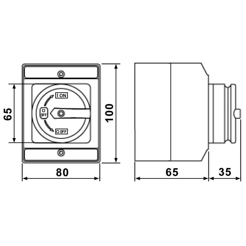Hauptschalter Reparaturschalter Universal klein 4-polig Aufputz IP65 ...